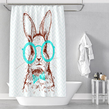 Cartoon glasses rabbit digital printing bathroom shower curtain without punching waterproof factory direct sales vintage postage stamp digital printing mouldproof shower curtain for bathroom