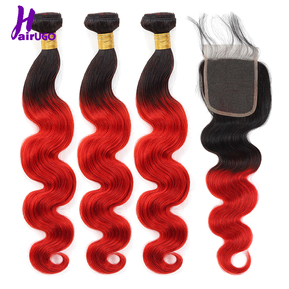 HairUGo Hair Ombre Malaysian Body Wave 3 Bundles With Closure 1B30/1B33/1B39J# Ombre Human Hair Bundles With Closure Non Remy