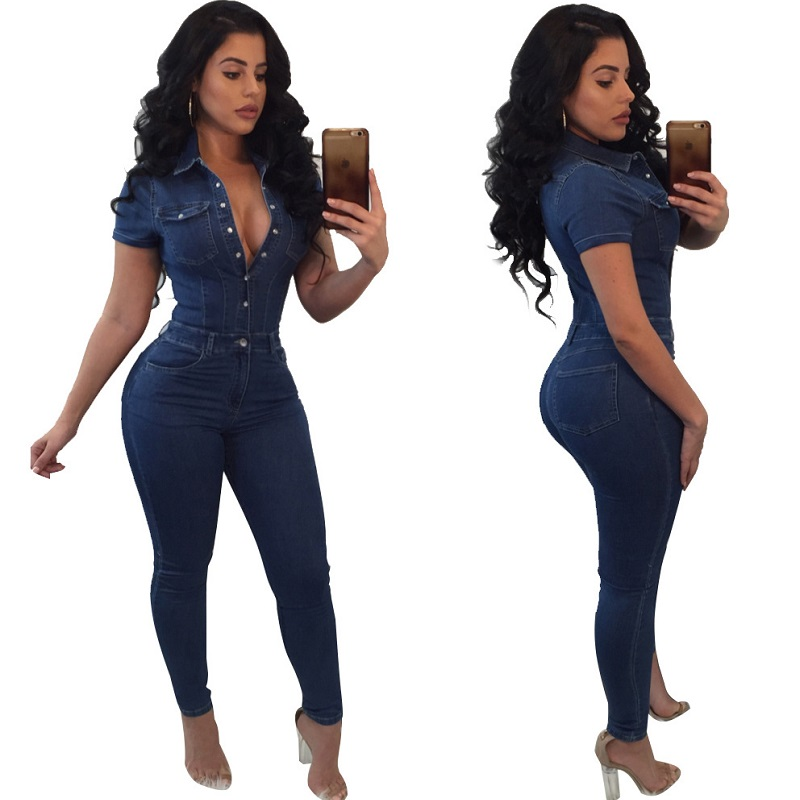 One Piece Jumpsuits For Women 2019 Plus Size Fashion Elegant Style 2018 Bodycon Rompers Short Sleeve Overalls Denim Jumpsuit