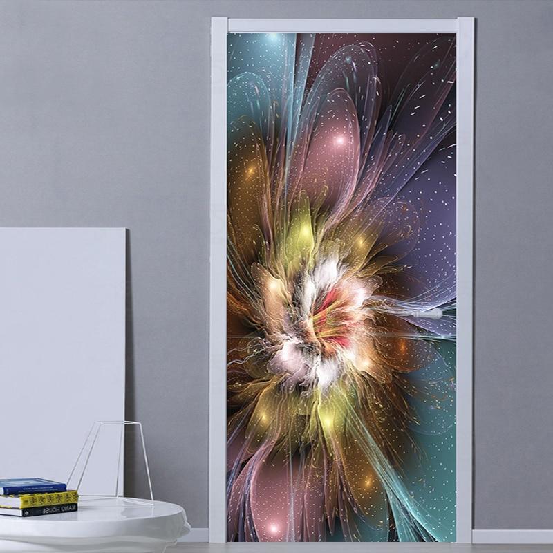 Modern Abstract Art Flowers Wallpaper 3D Door Sticker Living Room Bedroom Creative DIY Home Stickers PVC Waterproof Door Murals