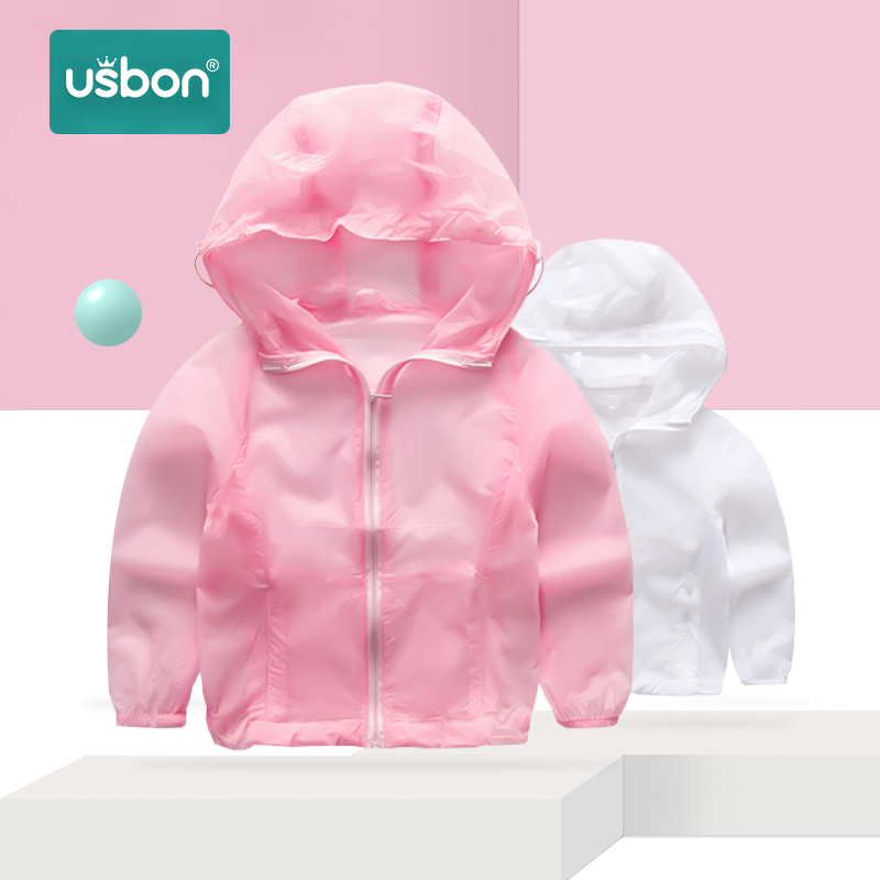 Usbon Children Sun Protective Clothing Kids Summer Waterproof Fashion Coat Breathable Light Baby Casual Hooded Jacket + Bag
