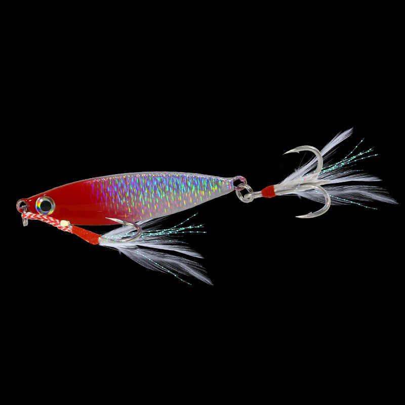 1PC 7g-10G-15G-20G Metall Jig Angeln Köder Langsam Jig Blei Fisch Angeln Locken Künstliche Harten Winter Eis Locken Haken