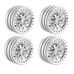 1.9 Inch Beadlock Wheels Rims for 1/10 RC Crawler Axial SCX10 SCX10 II 90046 Traxxas TRX4 D90, 4Pcs/Set, Silver