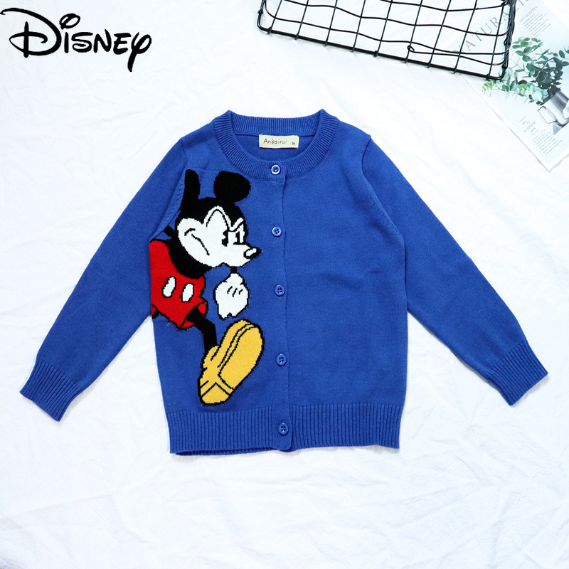 Original Disney Mickey Mouse Children's Cardigan Cotton Crew Neck Sweater Winter Clothes for Girls Toddler Boy Winter Clothes