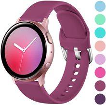 20mm silikonowy pasek do zegarka Samsung Galaxy 42mm Active2 40 44mm miękki pasek do zegarka sportowego do Samsung S2 Classic zamiennik tanie tanio HUALIMEI CN (pochodzenie) 22 cm Od zegarków Nowy z metkami pin buckle
