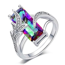 USTAR Colorful Square Cubic Zirconia Wedding Rings for Women 2019 New Fashion Jewelry Silver Color Rings female party Best Gifts цена и фото