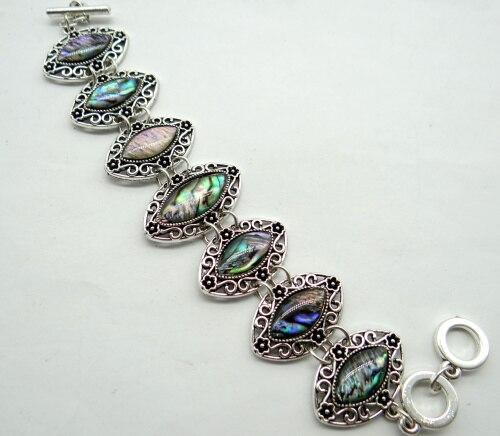 Moda natural Legering Zilveren Etnische Stijl Antieke cristal de Quartzo charme Abalone Shell Do Vintage Jewelry making Gem Braçadeira