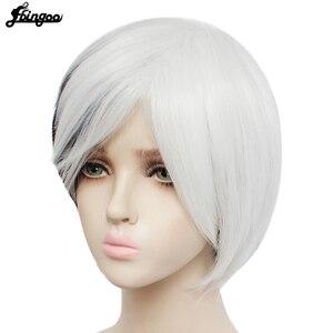 Image 4 - Ebingoo Круэлла Девиль женские парики средней длины Белый Черный Многослойные синтетические Косплэй парик для Для женщин вечерние костюмы на Хэллоуин + парик Кепки