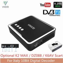 Itália receptor de tv DVB-T2 h.265/hevc 10bit sintonizador de tv digital terrestre decodificador ac3 hd áudio embutido rede rj45 transporte rápido