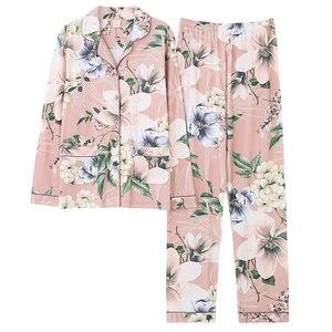 Image 2 - Womens Lange Mouwen Pyjama Lente Katoen Bloemen Vrouwen Nachtkleding Losse Twee Stukken Set Vrouwelijke Pyjama Plus Size 3XL Pijama Mujer