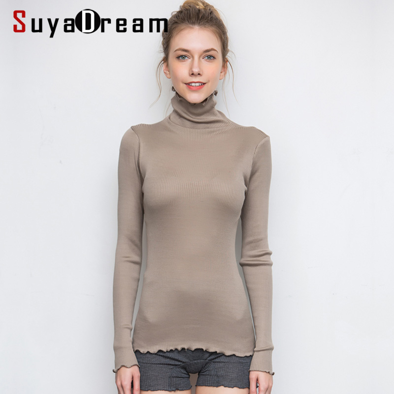 SuyaDream Women Solid Turtleneck Pullovers 80%Silk 20%Cotton Slim Fit Rib Sweaters 2019 Autumn Winter Bottoming Knit wear