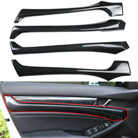 Carbon Fiber Car Inner Door Panel Cover Trim Strip Decoration For Honda Accord 2018
