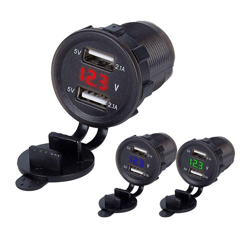 Voiture double USB chargeur allume-cigare prise de courant 4.2A avec voltmètre et fil en ligne 10A fusible pour 12-24V voiture bateau Motorc
