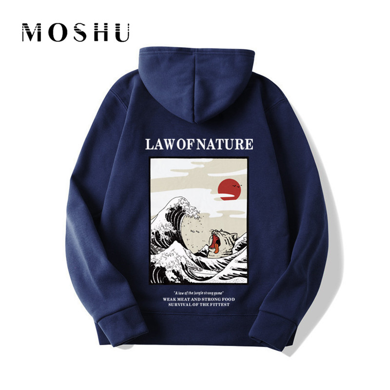Harajuku Hoodies Sweatshirts Funny Embroidery Cat Wave Printed 2019 Hip Hop Casual Fleece Low Of Nature Hooded Hoody Pullovers