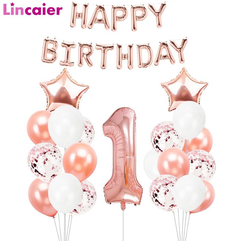 Розовое золото фольга номер конфетти для воздушного шара латексный шар для первого дня рождения украшения для первого ребенка принцесса де...
