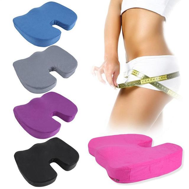 U-Shape Seat Cushion - Velvet Fabric Memory Foam Seat Cushion to Beauty Buttocks Travel Breathable Seat Cushion