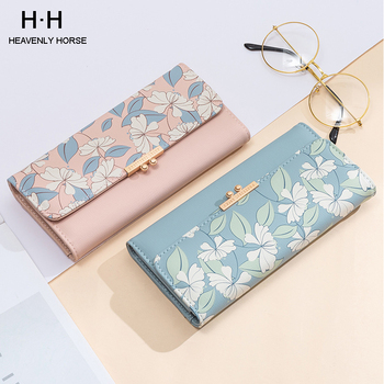 New Arrival Sweet Fashion Printing Womens Wallet Ladies Long Section Coin Purch  PU Card Package