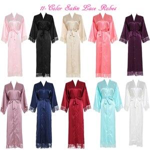 Image 4 - Owiter Long Silk Satin Robe Bridesmaid Robes w/ Lace Trim Robe Bridal Wedding Robe Sleepwear Bathrobe Long Gowns for Women Blue