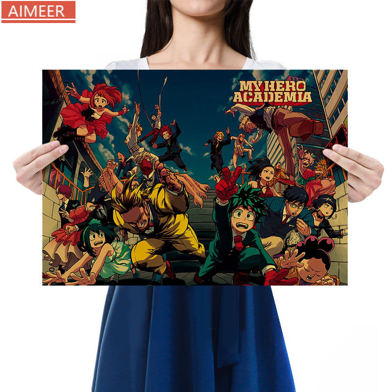 AIMEER My Hero Academia A Collection of Characters and Characters Vintage Kraft Paper Poster Bar Cafe Decorative Painting51*36cm