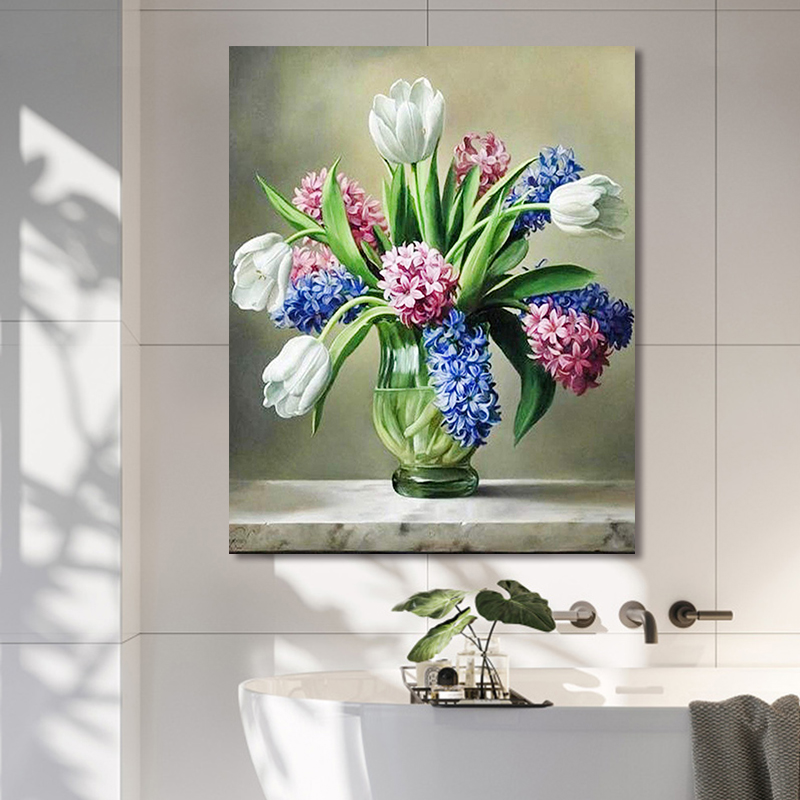 Painting By Numbers Art Paint By Number Diy Hand Painted European Transparent Vase Plant Flower Home Corridor Decoration