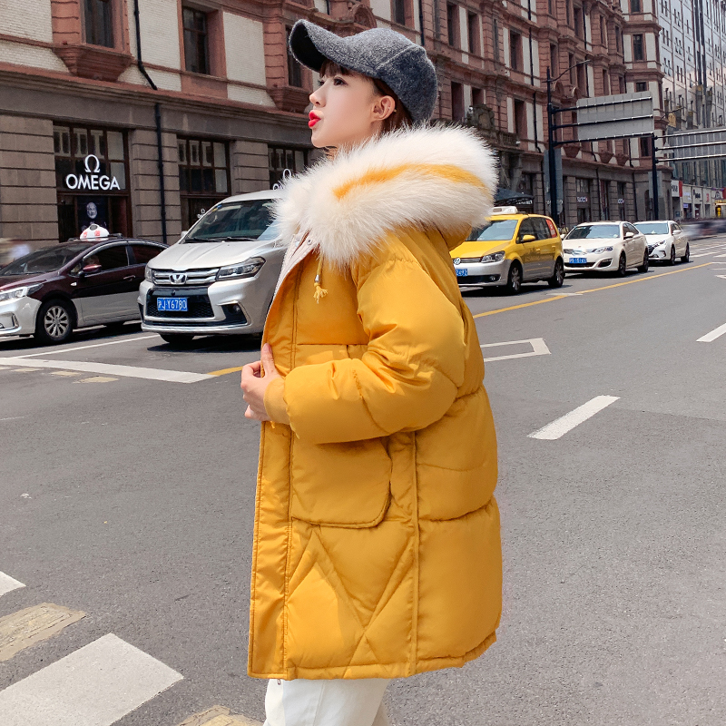 Women Solid Long Jackets Winter Korean Parka 2020 Plus Size Hooded With Fur Collar Thick Female Coats Outwear Manteau Femme