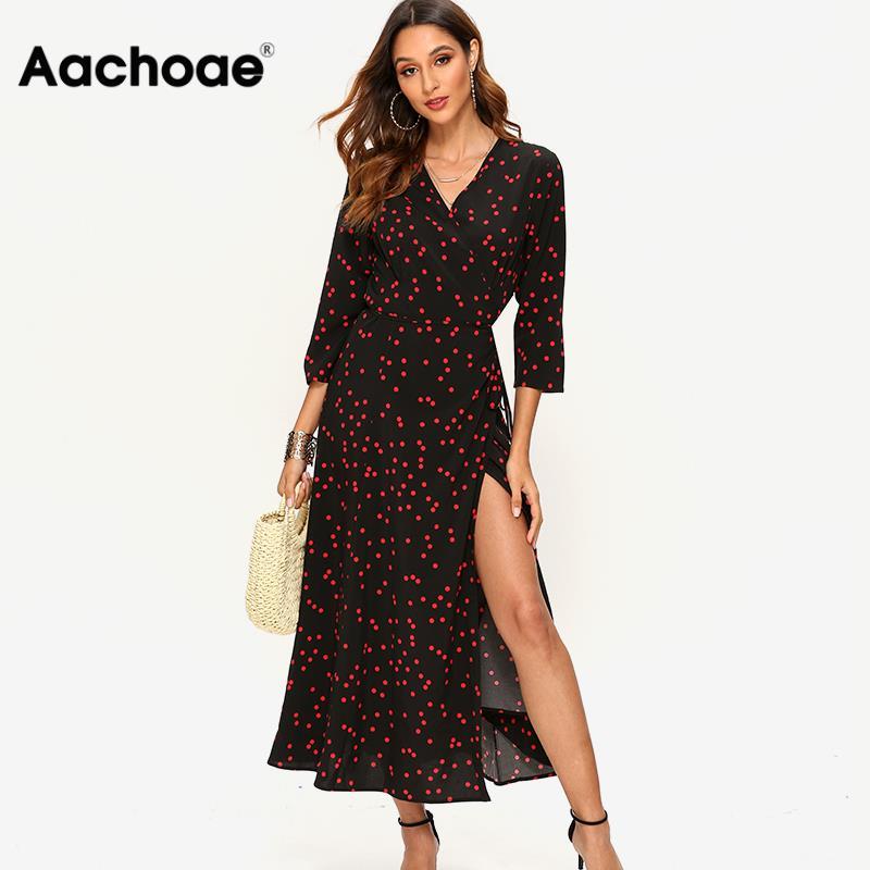 Aachoae Women Polka Dot Long Dress Boho Sexy V Neck Split Maxi Party Dress Three Quarter Sleeve Casual Bandage Wrap Dresses