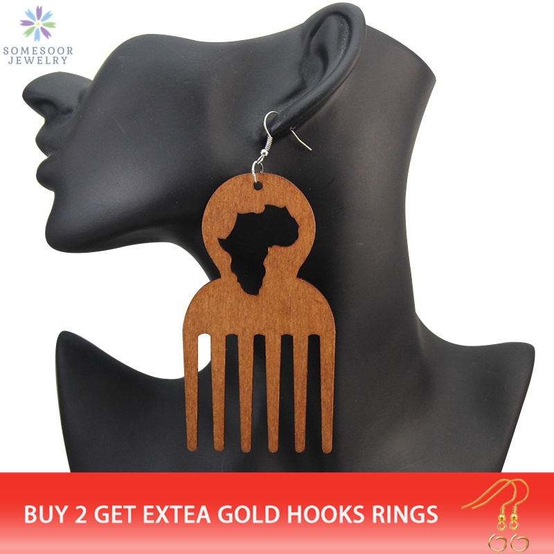 SOMESOOR Big Engraved Afro Ethnic Comb Design Wooden Drop Tribal Earrings With Hollow African Map Pattern For Black Women Gifts