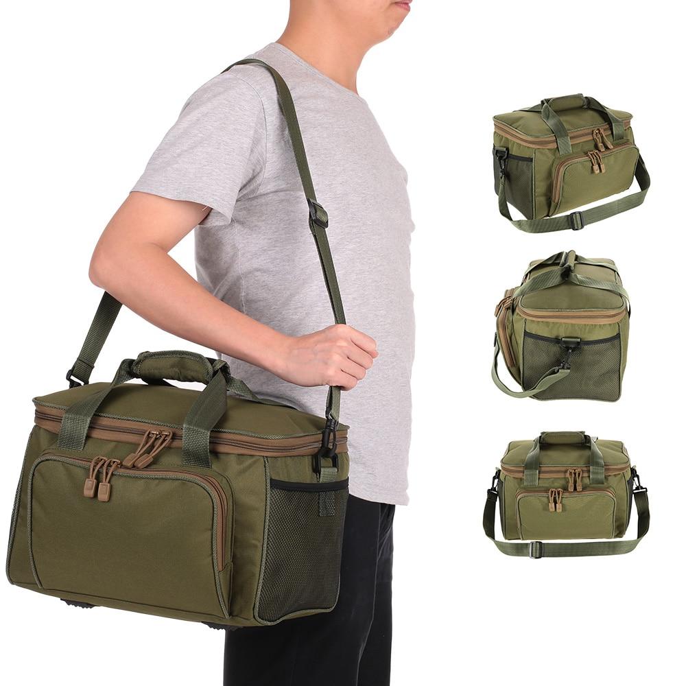 Men Fishing Bag Pesca Canvas Multifunctional Waist Shoulder Bag Outdoor Sport Lure Fishing Tackle Storage Bags 37 * 25 * 25cm|Fishing Bags| |  - title=