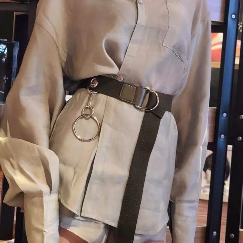 Men Women Belts Casual Canvas With Chain Ring Double D Ring Buckle Simple Leisure Joker Long Pants Girdle Waistband Harajuku