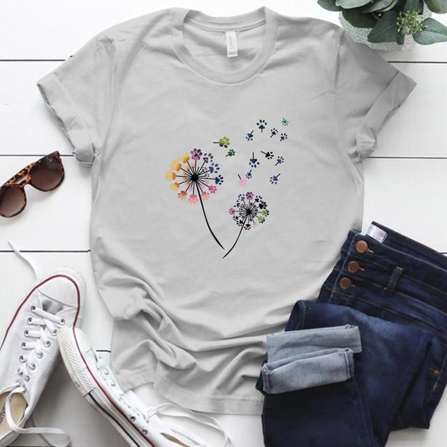 Graphic T Shirts for Women Short Sleeve Colorful Dandelion Print Crewneck Tee Shirts Tops Blouse Plus Size.S-5XL
