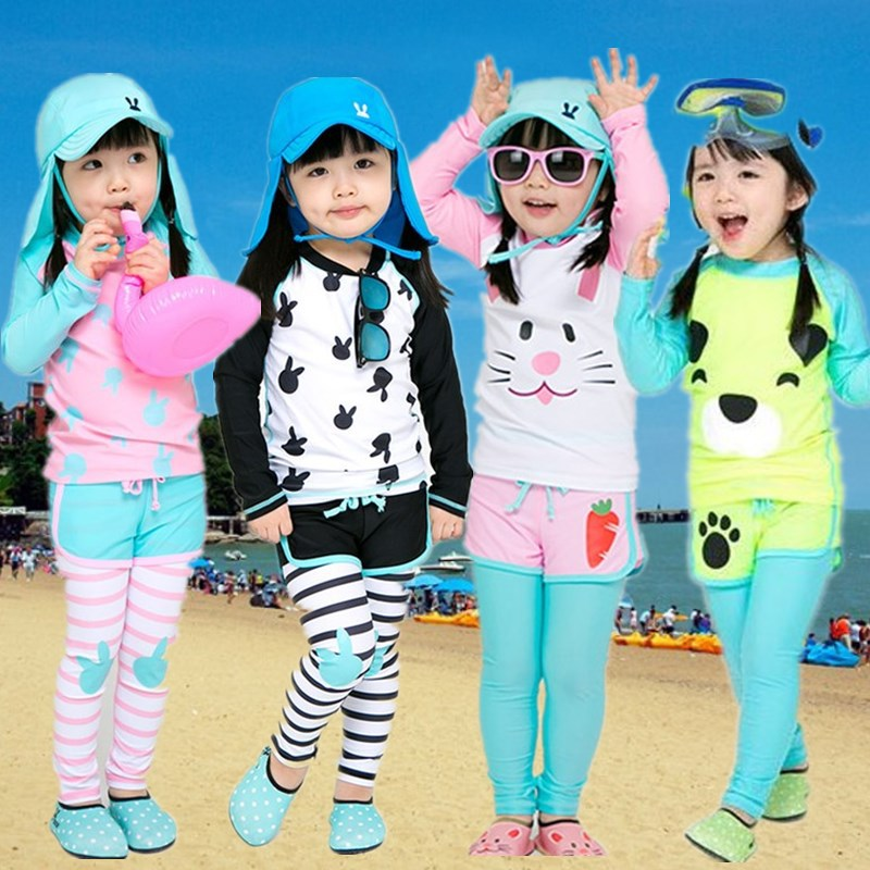 KID'S Swimwear GIRL'S Split Type Long Sleeve Trousers Sun-resistant Cute Princess Kids Baby Big Boy Hot Springs Swimming Suit