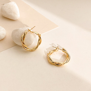 LATS Fashion Distortion Interweave Twist Metal Circle Geometric Round Hoop Earrings for Women Accessories Retro Party Jewelry 4