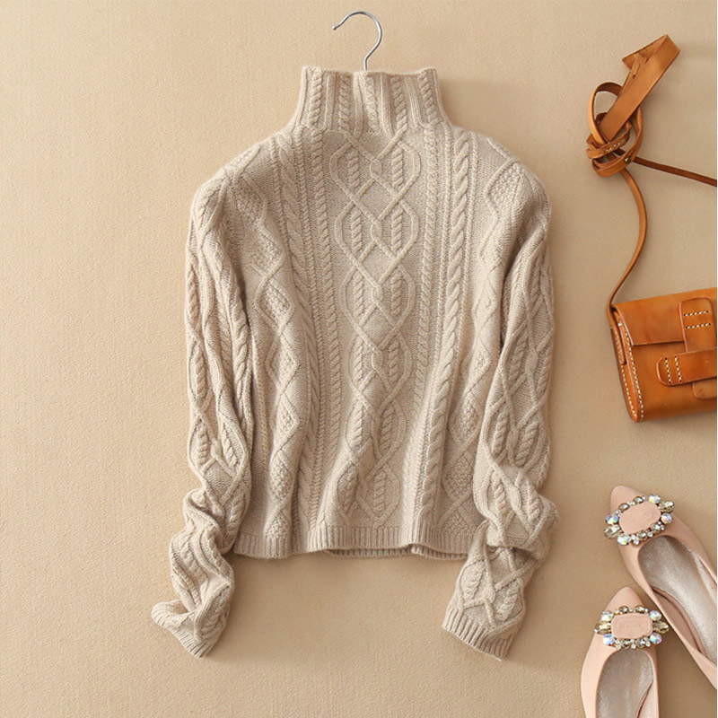 Winter Knitted Turtleneck Women's Pullover Sweater Twisted Long Sleeve Vintage Short Sweaters Women 2019 Autumn Solid Jumpers