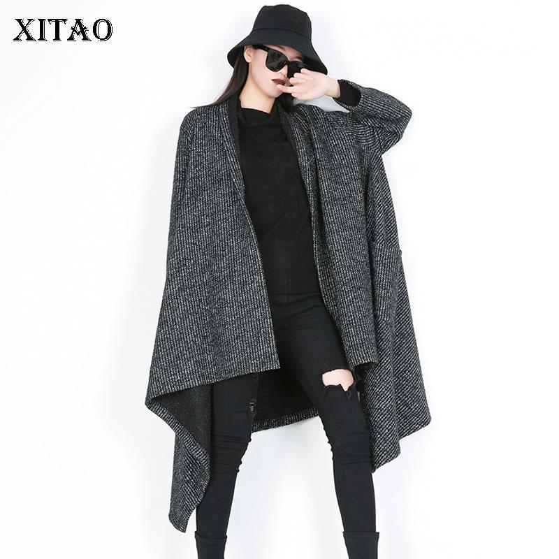 XITAO Knitted Irregular Loose   Trench   Women Fashion New Elegant Patchwork 2019 Autumn Pocket Casual Style Minority Coat GCC2077