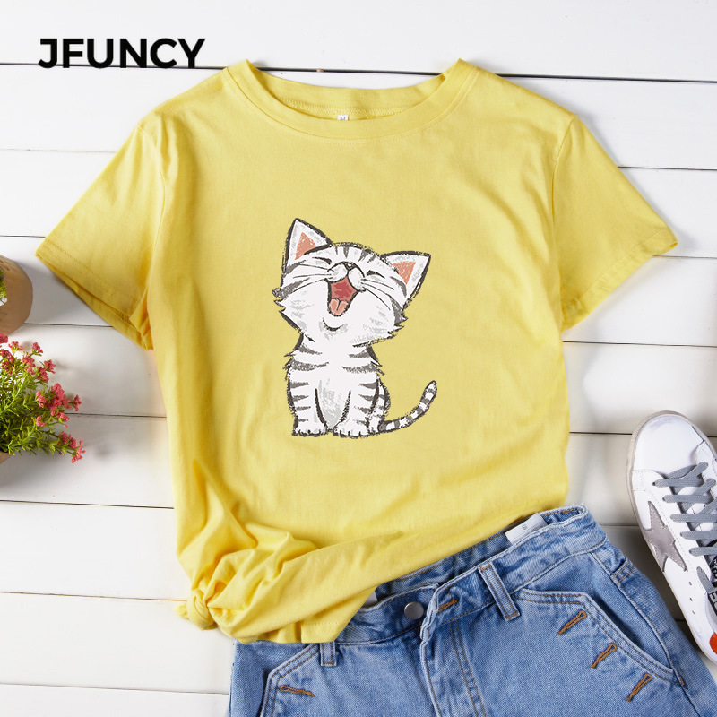 JFUNCY Cute Meow Cat Cartoon Printed Women T-Shirt Plus Size Cotton Tees Tops Short Sleeve Summer Woman Shirts New Female Tshirt