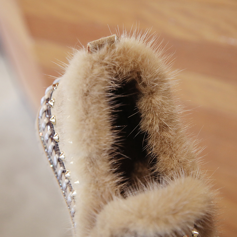 2019 Winter New Women Fur Loafers Comfortable Casual Platform Sneakers 77