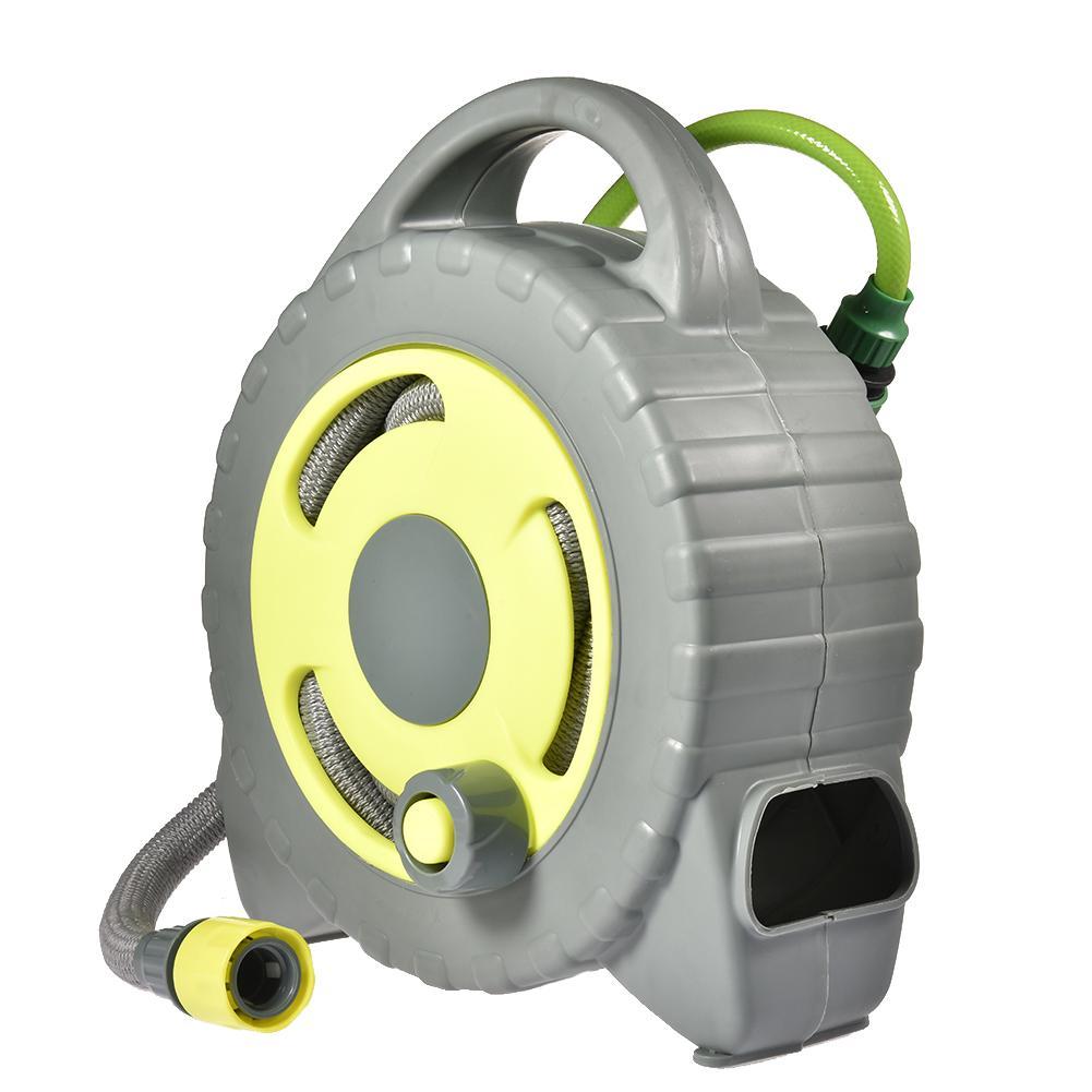 Retractable Auto Garden Hose Reel With 50ft Water Hose 8 Sprayer