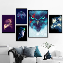 Watercolor Fox Owl Wolf Eagle Nordic Posters And Prints Wall Art Canvas Painting Abstract Animals Pictures Kids Room Decor