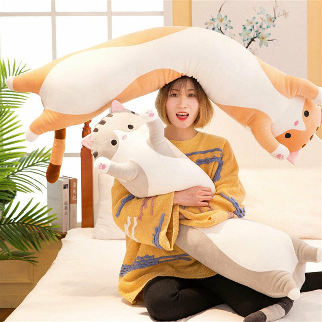 kids toys Long Cotton Cute Cat Doll Plush Toy Soft Stuffed Sleeping Pillow 50CM Comfort for children's Gifts toys