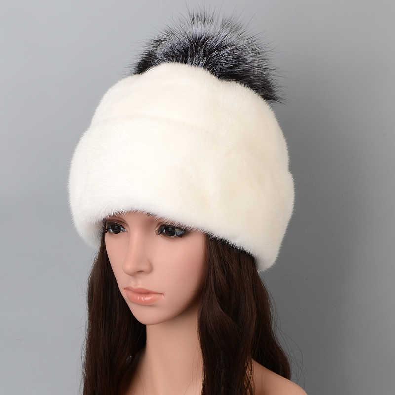 Pwmzl Bonnet Beanie pour Femme Hiver Fourrure de Lapin Synth/étique Tricot Doubl/ée Chaud Mode Hat Adulte Chapeaux /él/égant Dames