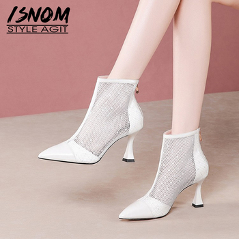 ISNOM Mesh Ankle Boots Women Patent Leather High Heels Shoes Woman Pointed Toe Booties Ladies Fashion Shoes