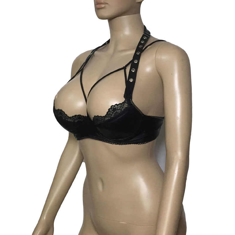 Sexy Women Faux Leather Cupless Cage Bra Top Lace Trim Open Breast String Bralette Crop Top Fetish Lingerie Mistress Costume