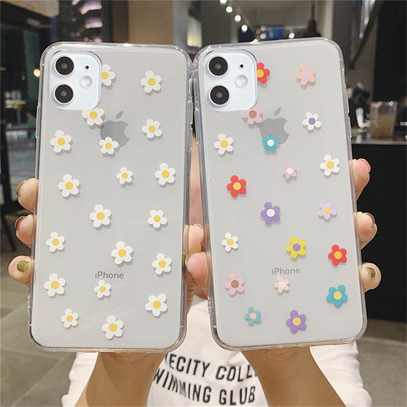 moskado Cartoon Flower Daisy Phone Case For iPhone 12 Mini 11 Pro Max X XR XS Max 7 8 7Plus Clear Shockproof Soft Silicone Cover