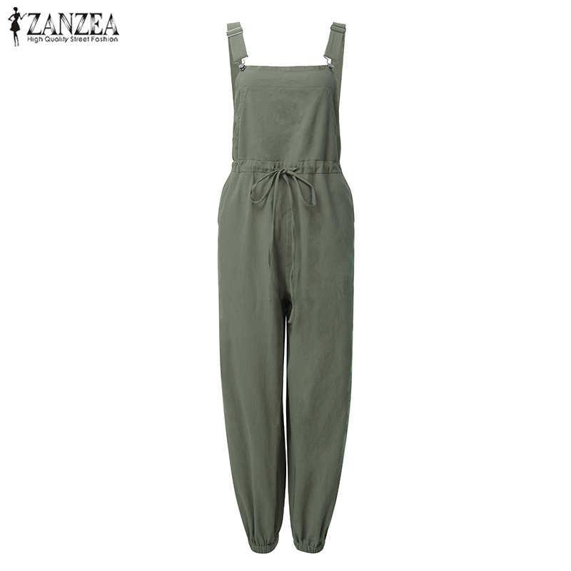 ZANZEA Spielanzug-frauen Overalls Damen Sexy Ärmellose Strumpf Lange Hülse Elastische Taille Lange Hosen Playsuits Lange Mono 5XL
