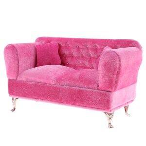 Image 1 - 1/6 Schaal Poppen Roze Dubbele Couch Lange Bank Model Action Figure Poppen Sofa Meubels Accessoires