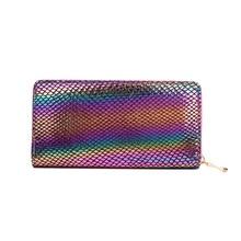 KANDRA 2019 Mesh Motif Laser Rainbow Long Wallet Women Fashion PU Leather Wallet Zipper Phone Bag Credit Cards Holder Wholessle