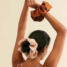 Женские шелковые резинки для волос, эластичные резинки для волос большого размера в виде пончика, зажим-петля, держатель для конского хвост...