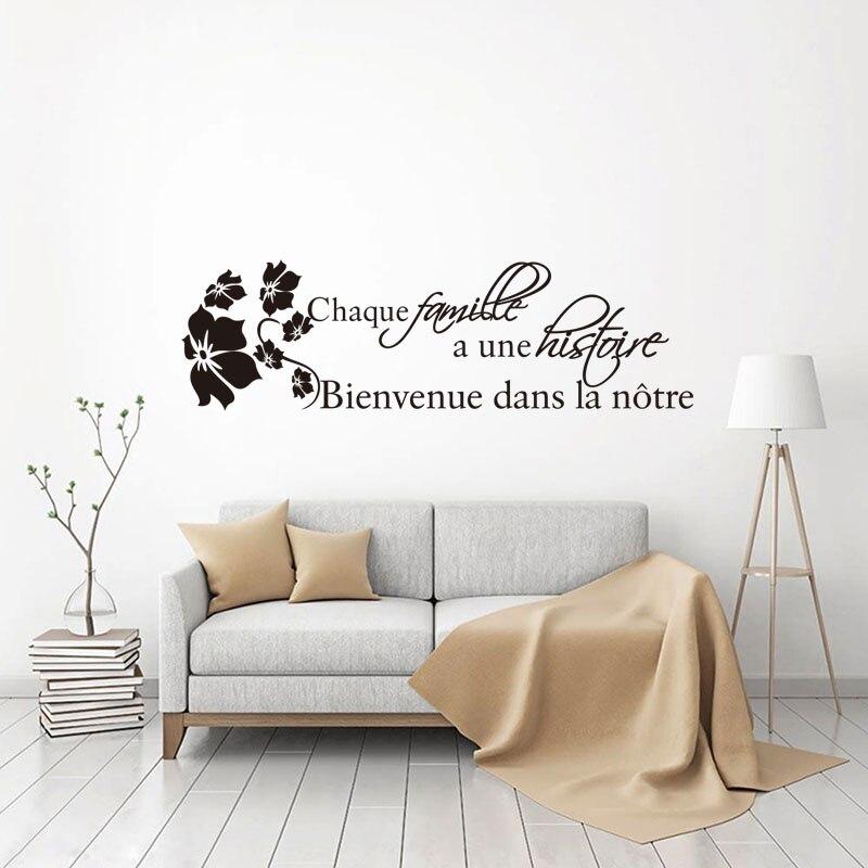 French Citation Histoire De Famille Vinyl Wall Sticker Mural Art