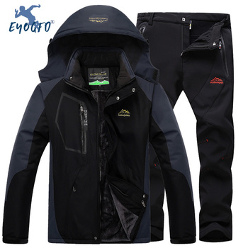 Outdoor Mountaineering Set Men's Windproof Waterproof Warm Ski Jacket and Pants Sets Winter Sports Clothes Size L-5XL Suit
