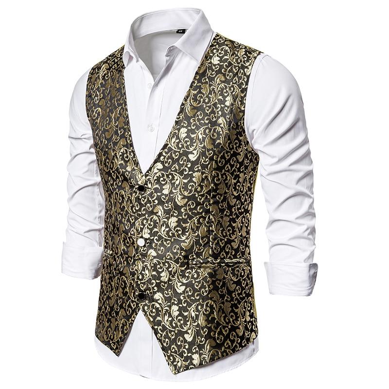 Luxury Gold Floral Jacquard Dress Vest Men 2020 Brand Sleeveless Waistcoat Men Gilet Homme Costume Business Wedding Tuxedo Vests
